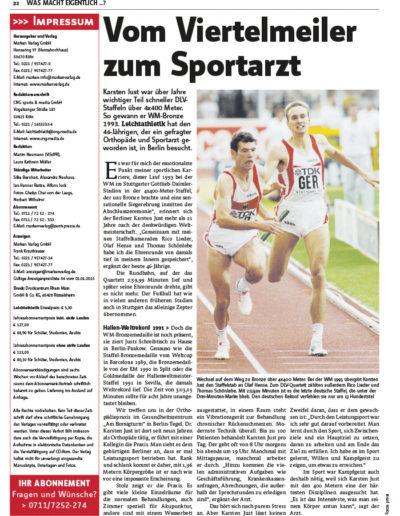 Bild Zeitschrift Leichtathletik Artikel vom 04. Februar 2015, Ausgabe Nr. 6 - Seite 22
