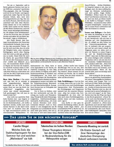 Bild Zeitschrift Leichtathletik Artikel vom 04. Februar 2015, Ausgabe Nr. 6 - Seite 23