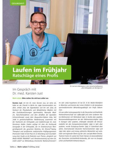Zeitschrift Mehr Leben - Ausgabe vom Frühling 2019 - Laufen im Frühjahr - Ratschläge eines Profis - Im Gespräch mit Dr. med. Karsten Just - Seite 4