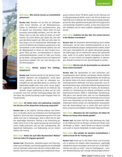 Zeitschrift Mehr Leben - Ausgabe vom Frühling 2019 - Laufen im Frühjahr - Ratschläge eines Profis - Im Gespräch mit Dr. med. Karsten Just - Seite 5