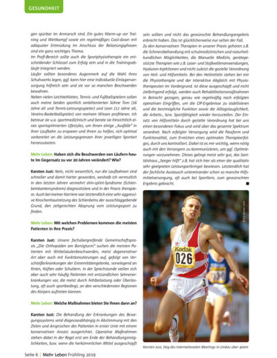 Zeitschrift Mehr Leben - Ausgabe vom Frühling 2019 - Laufen im Frühjahr - Ratschläge eines Profis - Im Gespräch mit Dr. med. Karsten Just - Seite 6