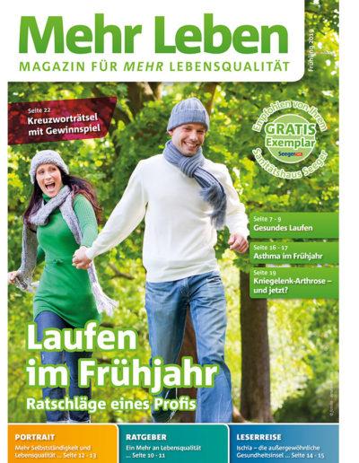Zeitschrift Mehr Leben - Ausgabe vom Frühling 2019 - Laufen im Frühjahr - Ratschläge eines Profis - Im Gespräch mit Dr. med. Karsten Just - Titelbild